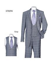 Plaid ~ Windowpane Vested Suit with Double Breasted Vested 3 Piece Suit Gray