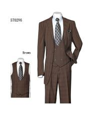 Mens Brown Two Side Vents Plaid ~ Windowpane Vested Suit