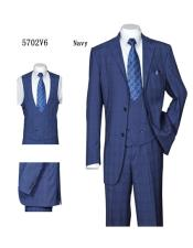 Mens Dark Navy  Plaid ~ Windowpane Vested Suit