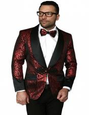 Color paisley Floral Satin Shiny Fashion Blazer paisley Jacket Dinner Jacket