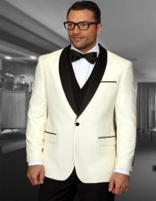 1 Button Shawl Collar Two Toned Tuxedo Dinner Jacket Blazer Cream