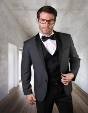 1 Button Shawl Collar Two Toned Tuxedo Dinner Jacket Blazer Charcoal