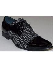Mens Black ~ White  Patent
