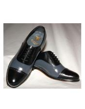 Mens Two Tone Shoes Black and Grey Stacy Baldwin Shoes
