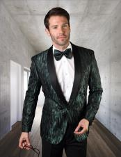 Hunt Green Shadow Pattern Single Breasted Dinner Jacket