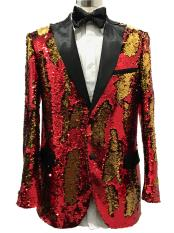 Two Button Single Breasted Red ~ Gold  Suit