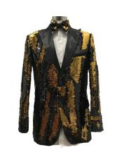 Two Button Single Breasted Black  ~ Gold Suit