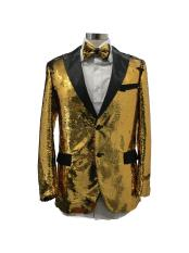 Two Button Single Breasted Gold Suit