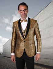 Gold Single Breasted Shawl Lapel Suit or Tuxedo