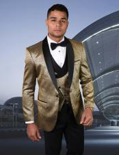 Gold Shawl Lapel One Chest Pocket Suit or Tuxedo