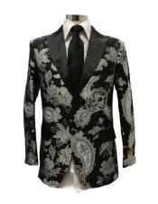 High fashion floral pattern peak lapel