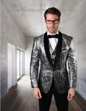 Statement Clothing One Button velvet Suit Silver