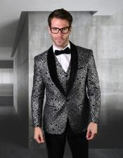 Royal ~ Black Statement Clothing Suit Single Breasted Velvet