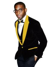 Yellow Peak Lapel Black Tuxedo Two Button Two Toned Velvet Fabric With Matching Bowtie