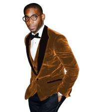 Tan Tuxedo Peak Lapel Two Toned Velvet Fabric With Matching Bowtie