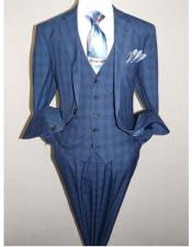 Two Button Single Breasted Glen Plaid Pattern Dark Navy Blue Suit