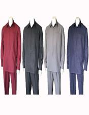 Mens Plain Long Sleeve Casual Walking Suit