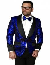Single Breasted Shawl Label Suit Royal Blue