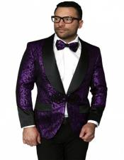 Single Breasted Shawl Label Suit Dark Purple