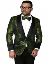 Single Breasted Shawl Label Suit Olive Green