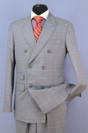 Grey 6 Button Regular Fit Wool Double Breasted Suit