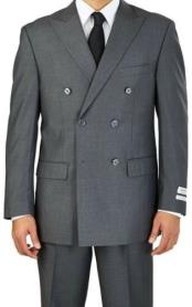 Grey Double Breasted 6 Button Classic Fit Suit
