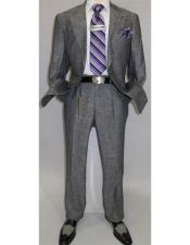 Summer Linen Suit Single Breasted 2 Button Suit Charcoal Gray