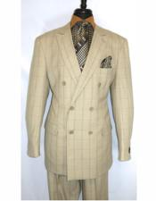 King Tan 100% Wool Double Breasted Peak Lapel