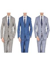 Slim Fit Suits Plaid ~ Window Pane Suits Indigo ~ Bright Blue ~ Grey ~ Tan