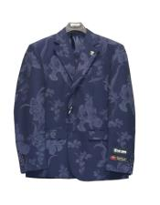 ~ Floral Suit Jacket And Pants Dark Navy