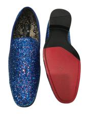 Slip On Navy Blue Shiny Fashionable Stylish Dress Loafer Glitter ~