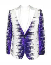 White and Purple Sequin Fashion Blazer