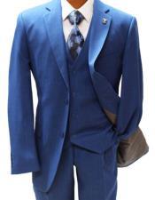 Button Suit Blue Suit