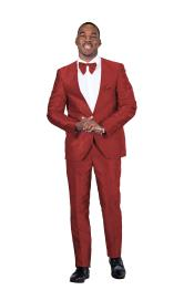 Suit Single Breasted One Button V- Neck Red 805