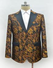 Mens Fashion Ostrich looking Leopard - Animal Print Suit