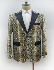 Mens Fashion Snake Skin Ostrich looking Jacket