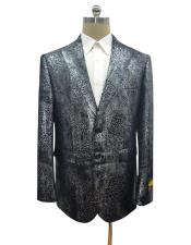 Black Alligator Python Snakeskin Print Snake Jacket For Blazer Sport Coat
