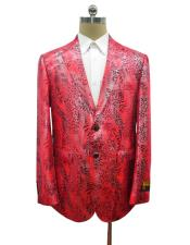 Mens Red Alligator Ostrich looking Python Snakeskin Print