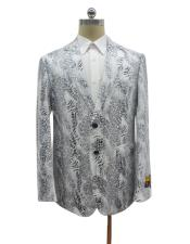 Mens White Alligator Ostrich looking Python Snakeskin Print