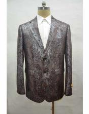 Unique Brown Mens Casual Print Fabric Suit