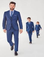 And Son Blue Matching Notch Lapel Wool wedding outfit Suits Perfect