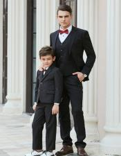 And Son Black Matching  wedding outfit Suits Perfect for toddler