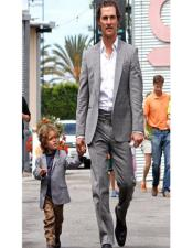 Grey Two-Button Closure Father ~ Dad And Son Matching Suit