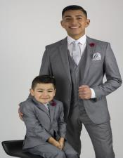 And Son Two Button Gray Matching Single Breasted Wedding Outfit Suits