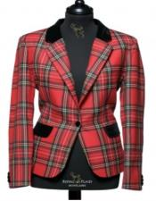 Red Tartan ~ Plaid ~ Windowpane Two Button Mens Tartan Blazer Sport Coat Jacket