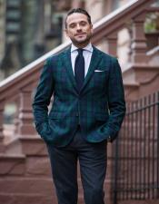 Tartan Plaid Window Pane Suit Olive Green And Blue Mixed Comes With Matching Vest