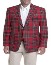 Red Tartan ~ Plaid ~ Windowpane Mens Tartan - Plaid Blazer