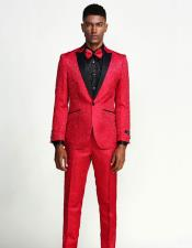 Red Suit Paisley Slim Fit Tuxedo Three Piece Set - Wedding -