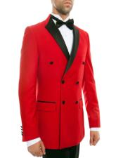 Red Double Breasted Slim Fit Tuxedo Black Peak Lapel - Prom -