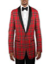 Tartan Plaid Tuxedo with Black Lapel - Holiday - Christmas -